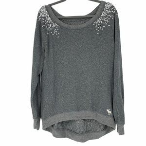 Abercrombie and Fitch Grey sequinned shoulder top